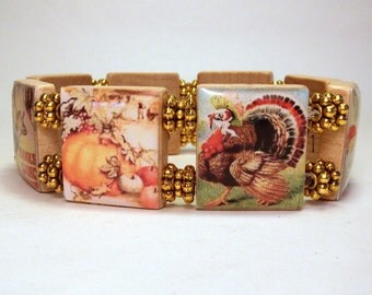 THANKSGIVING JEWELRY / SCRABBLE Art / Holiday Bracelet / Upcycled Unusual Gifts
