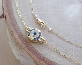 Evil Eye Necklace, choker necklace, layering necklace, blue eye, gold nazar with inlaid crystals, talisman, good luck, protection, Otis B
