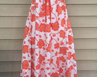 Fabulous Orange & White Cotton Bold Floral Maxi Dress Made in Hawaii