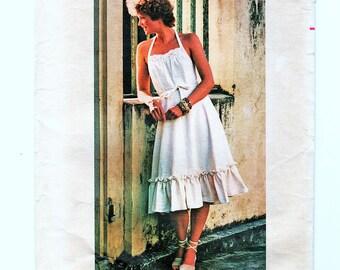 1970s Boho Wrap Dress Pattern size 12 14 Bust 34 36 Ruffled Wrap Sundress 1970s Dress Sewing Pattern