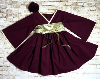 Burgundy and Gold Dress - Flower Girl Dress - Preteen Teen Dress - Toddler Party Dress - Little Girls Kimono Dress - 12 mos - 14 yrs