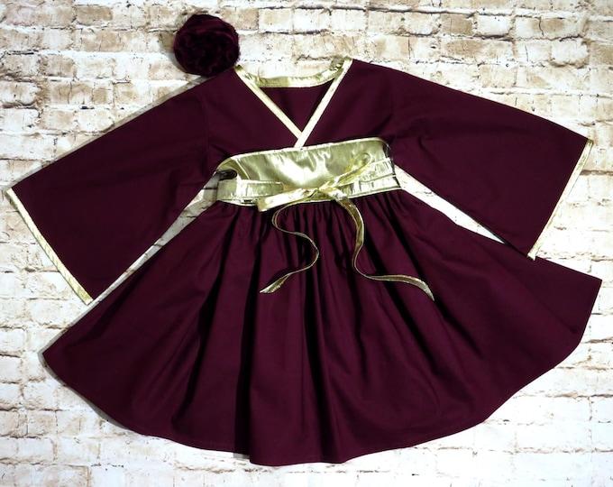 Burgundy and Gold Dress - Flower Girl Dress - Preteen Teen Dress - Toddler Party Dress - Little Girls Kimono Dress - 12 mos - 14 yrs