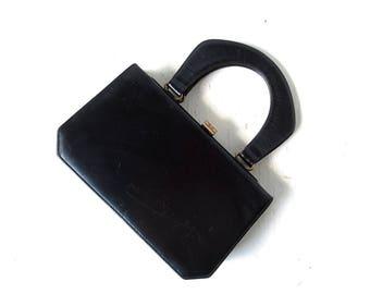 Vintage 1950s Purse   Black Leather Handbag   Accordion Bag