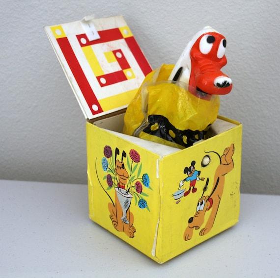 Vintage Pluto Jack In The Box, Walt Disney WDP #556 Cardboard Toy, Pop up Dog