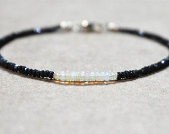 jet black spinel and welo opal bracelet. 14k gold filled. delicate beaded stackable bracelet. thin black spinel and opal bracelet