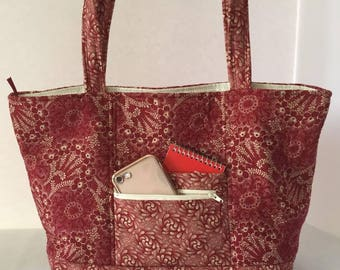 Red Quilted Bag with Zipper