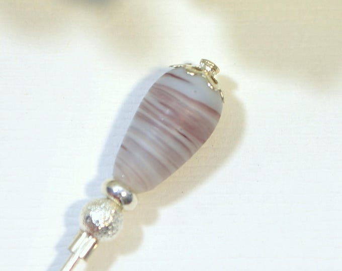 Purple Hat Pin 3 inch Purple Lapel Pin Hijab Pin Small Sarong Pin Scarf Pin Beaded Stick Pin Handmade