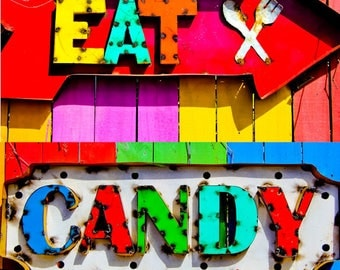 Eat Candy COLOR Square Print, Kitchen, Restaurant, Art, Neon Color, Colors, Bold, Bright, Food, Drink Sweets, Fun