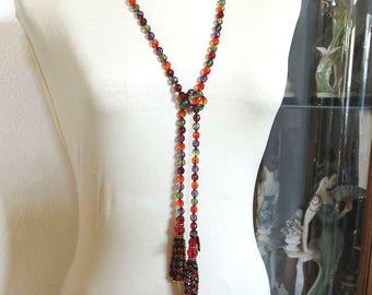 Multicolor Crystal Beads Tassel Lariat Necklace or Belt Vintage signed Joan Rivers MINT