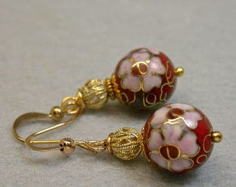 Vintage Chinese RED Cloisonne PINK Flower Dangle Bead Earrings Pink Flowers, Gold Filled Filigree Bead,Gold Ear Wires - Gift Wrapped