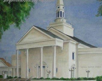 "ORIGINAL WATERCOLOR PAINTING, Old Central Baptist Church in Jonesboro, Arkansas, 11"" x 14"" by Suzanne Churchill"