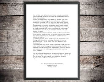 John F Kennedy Printable Quote 'Ask What You Can Do' Instant Download JFK Print Inaugural Speech American History Political Art Poster