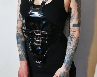 Hell Couture Constrictor Vinyl Harness Mini Dress