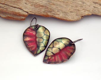 Red Black and Metallic Leaf Earrings, Copper Enamel Dangles, Vitreous Enamel Abstract Leaves, OOAK Gift for Her, Ready to Ship