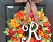 Fall Colors Peony Wreath, Fall Wreath, Monogram Wreath for Front Door, Autumn Fall Decor, 23 inch Fall Wedding Wreath