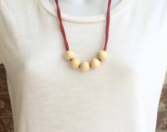 Red Fabric Necklace with wooden beads, Fabric Statement Necklace, Tshirt Yarn, Upcycled Jewelry, Repurposed Jewelry