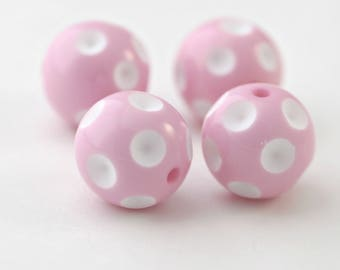 Pink White Dimpled Polka Dot Acrylic Beads 16mm (8)