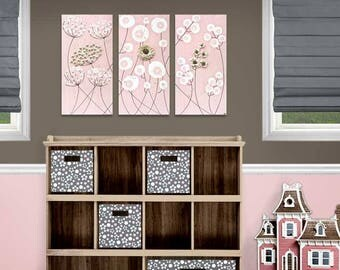 Set of 3 Wall Art Paintings for Girl's Nursery in Pink and Brown - Sculpted Flowers on Canvas - 32x20