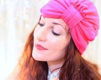 Hot Pink Turban with Bow - Women's Hair Turban - Fashion Turbans - Full Turban in Jersey Knit - Lots of Colors