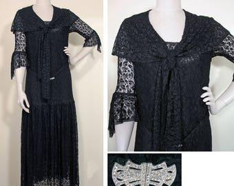 Vintage 1930s Black Lace Evening Dress SZ M