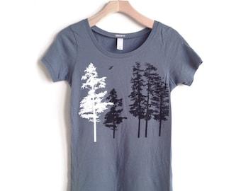 Trees Shirt, Women's Tree t-shirt, womens clothing , Hemlock forest tshirt, womens t shirts, organic clothes, organic nature shirt for her