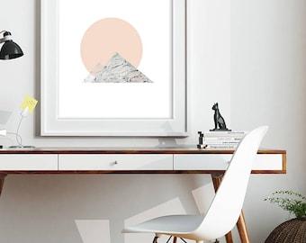 Minimal art print moon and mountain Scandinavian style. Marble Mountains by Julie Tillman. peach and dark grey marble. Modern Scandi style
