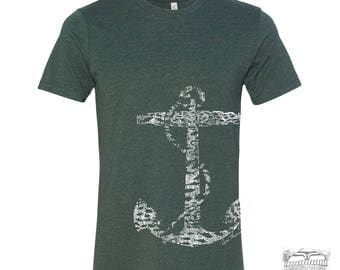 Men's Vintage ANCHOR t shirt s m l xl xxl (+ Color Options) hand screen printed