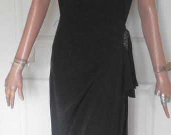 Vintage 40s Black Rayon Crepe Beaded Dress Cocktail B40 Side Zip