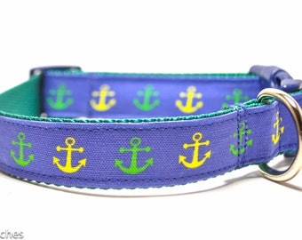 Green and Blue Anchor Dog Collar / Anchors Away in Green and Blue / Martingale or Buckle Custom Dog Collar / Exclusive