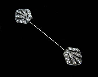 VINTAGE Art DECO Rhinestone HATPIN Jabot Stick Pin Stickpin Hat Pot Metal Old Jewelry Long 1930s