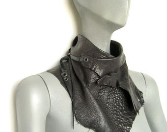 Leather cowl wrap, Distressed, Raw Primal leather, Unisex leather by Renegade icon designs