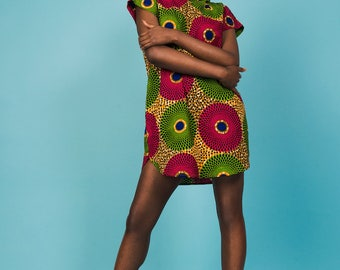 African print hoody dress