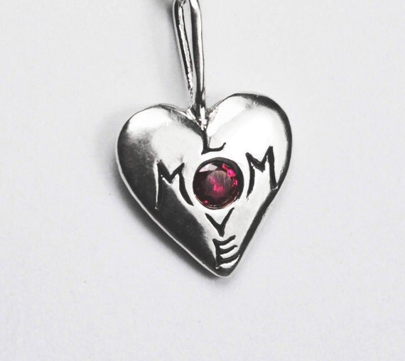 Mom Love Sterling Silver and Ruby Necklace-Ready to ship. Mother Love.