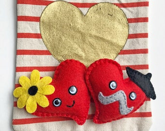 Mon Amour plushies, Two Hearts as One, French flair heart plush, his & hers mini felt heart, Heartstache, hand sewn, HibouDesigns