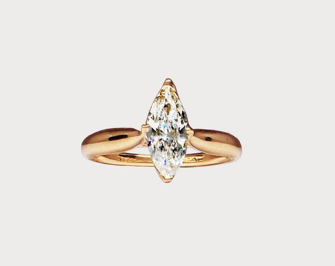 You Are My True North _ 14K Rose Gold Marquise Harmony Diamond Engagement ring