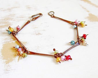 Freshwater Pearl Bracelet, Pearl Fashion Bracelet, Simple Jewellery, Boho Bracelet, Layering Bracelet, Copper Wire Jewelry, Dainty Bracelet