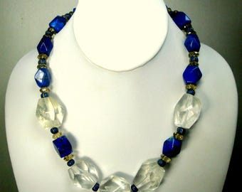 Cobalt Blue Lapis Lazuli & Giant Clear Crystal Stone Beads, Touramaline Too, OOAK Necklace,   By Rachelle Starr 1990s