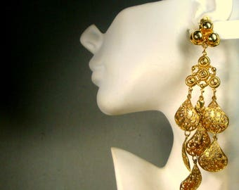 Very LONG CLip Earrings, Filigree Gold Dangles, WOW, Thrones Game Royalty, TV Shows, Girlfriend, Costume, Holiday Shoulder Dusters