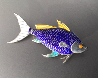 Large Sterling Silver and Enamel Fish Brooch