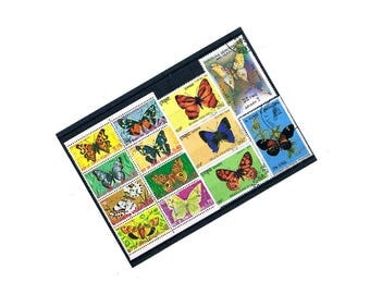 Colourful Vintage Butterfly Stamps | butterflies, nature theme used world postal stamp selection | card craft, decoupage, upcycle, collect