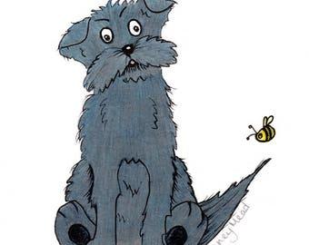 Bee and dog, Greeting Card, Original Illustration Print, Birthday Card, Notelet, Blank Card