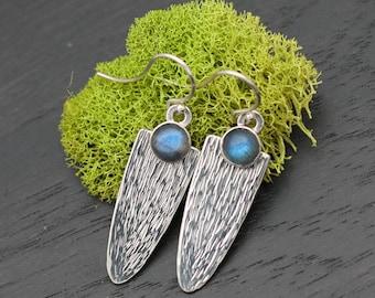 Labradorite Silver Dangle Earrings | Sterling Labradorite Earrings | Blue Labradorite Earrings Silver | Textured Labradorite Earrings