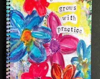 "Gratitude Grows with Practice 5.5"" x 8.5"" Coil Bound Gratitude Journal, Stationery, Practice Gratitude, Daily Gratitude"