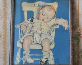 Vintage 1930's Maud Tousey Fangel Baby Sleeping Print in Frame
