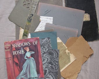 antique ephemera - shades of muddy coloured vintage paper -  scrapbooking pack for collage or mixed media art supply