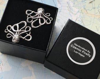 Silver Octopus Cufflinks Popular Men's Cufflinks Vintage Inspired Silver Cufflinks By Cosmic Firefly Best Men's Accessories & GIfts For Him