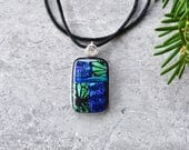 Lime Blossoms in a Field of Emerald and Plum Dichroic Glass Pendant...