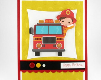 Fire truck card, Fire Man card, Fire Truck birthday card, happy birthday young boy, personalize and add their name