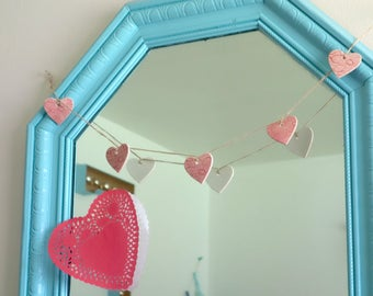 Sweet Pink Lace Porcelain Heart Garland with Natural Twine, Ceramic Heart Bunting Decor
