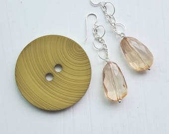 magnum earrings - vintage lucite and sterling - champagne - chain